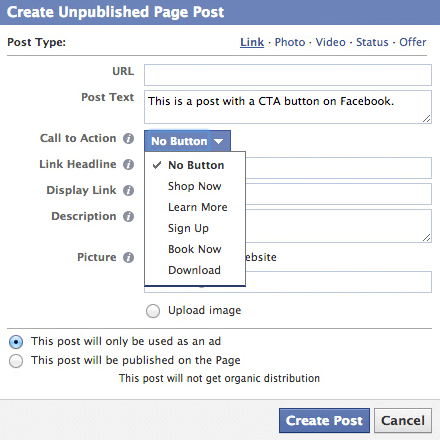Facebook's CTA button texts