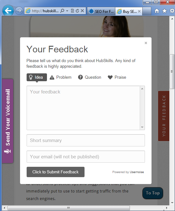 Modal feedback form plugin to collect visitor comments on any page in WordPress