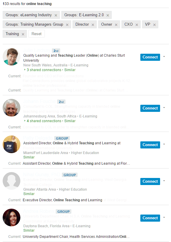 People search on LinkedIn