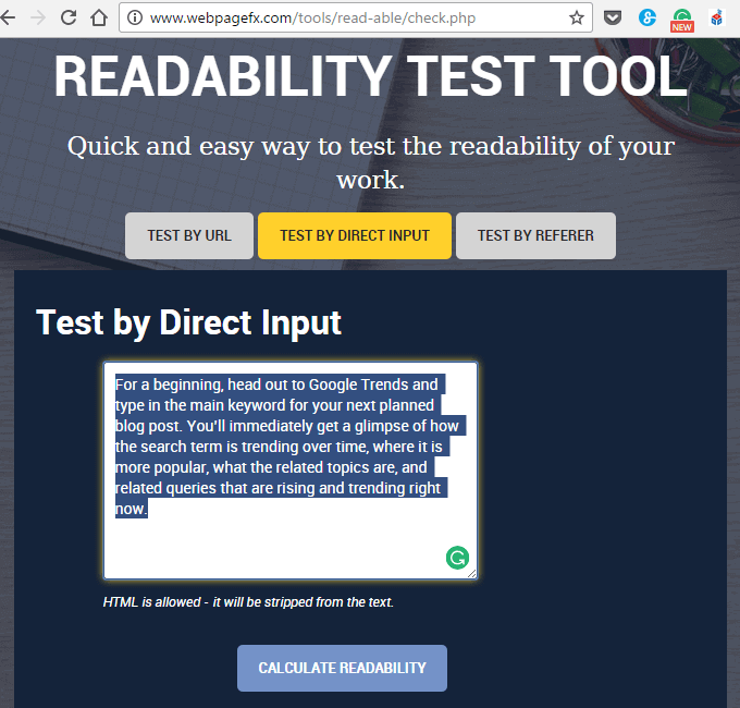 Using readability tool