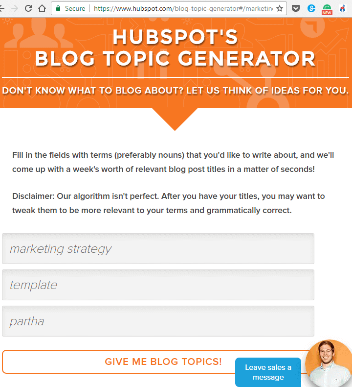 Solving writer's block by generating blog topics